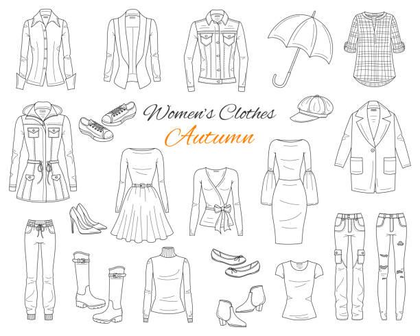 stockillustraties, clipart, cartoons en iconen met vrouwen kleding collectie. vectorillustratie schets - men blazer