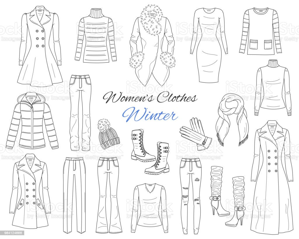 5a94cc1bee0c Women s clothes collection. Winter outfit. Vector sketch illustration -  Illustration .