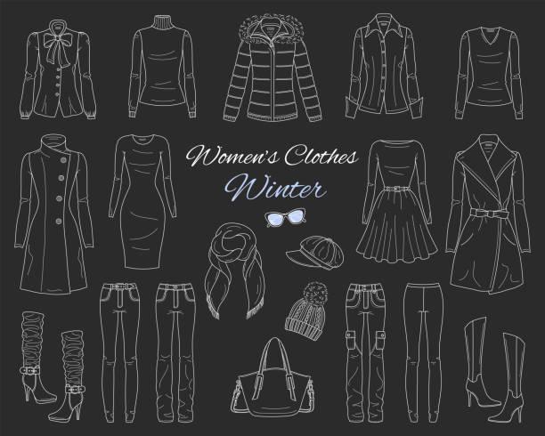 damen kleider-kollektion. winter-outfit. vektorgrafik-skizze - parkas stock-grafiken, -clipart, -cartoons und -symbole