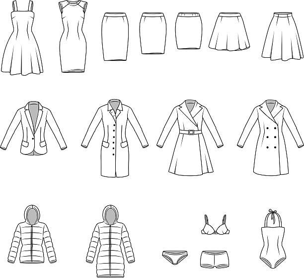 stockillustraties, clipart, cartoons en iconen met women's clothes, garment illustration - men blazer