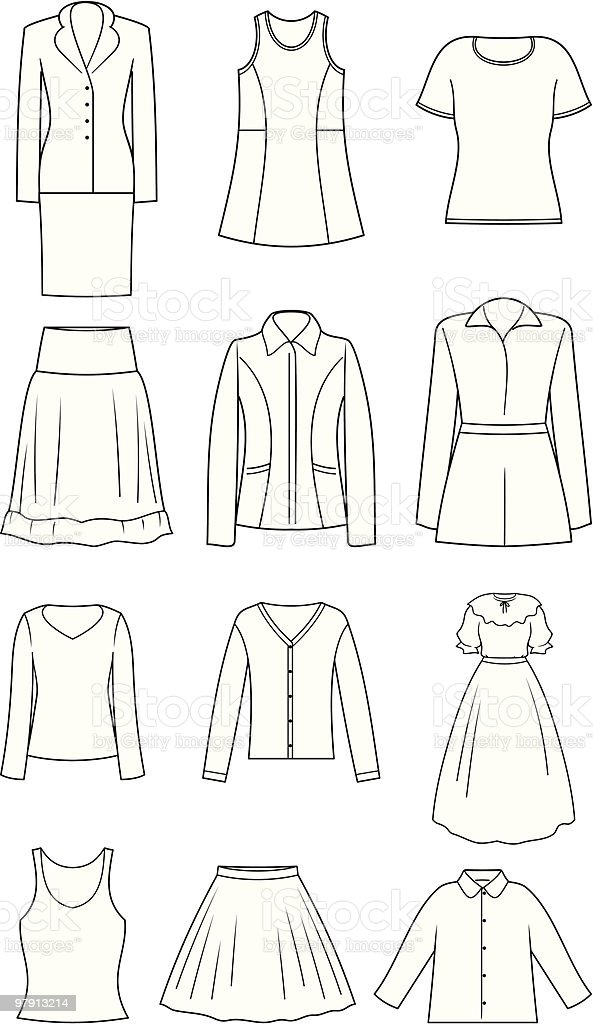 Women's Clothes - Vector Illustration royalty-free womens clothes vector illustration stock vector art & more images of adult