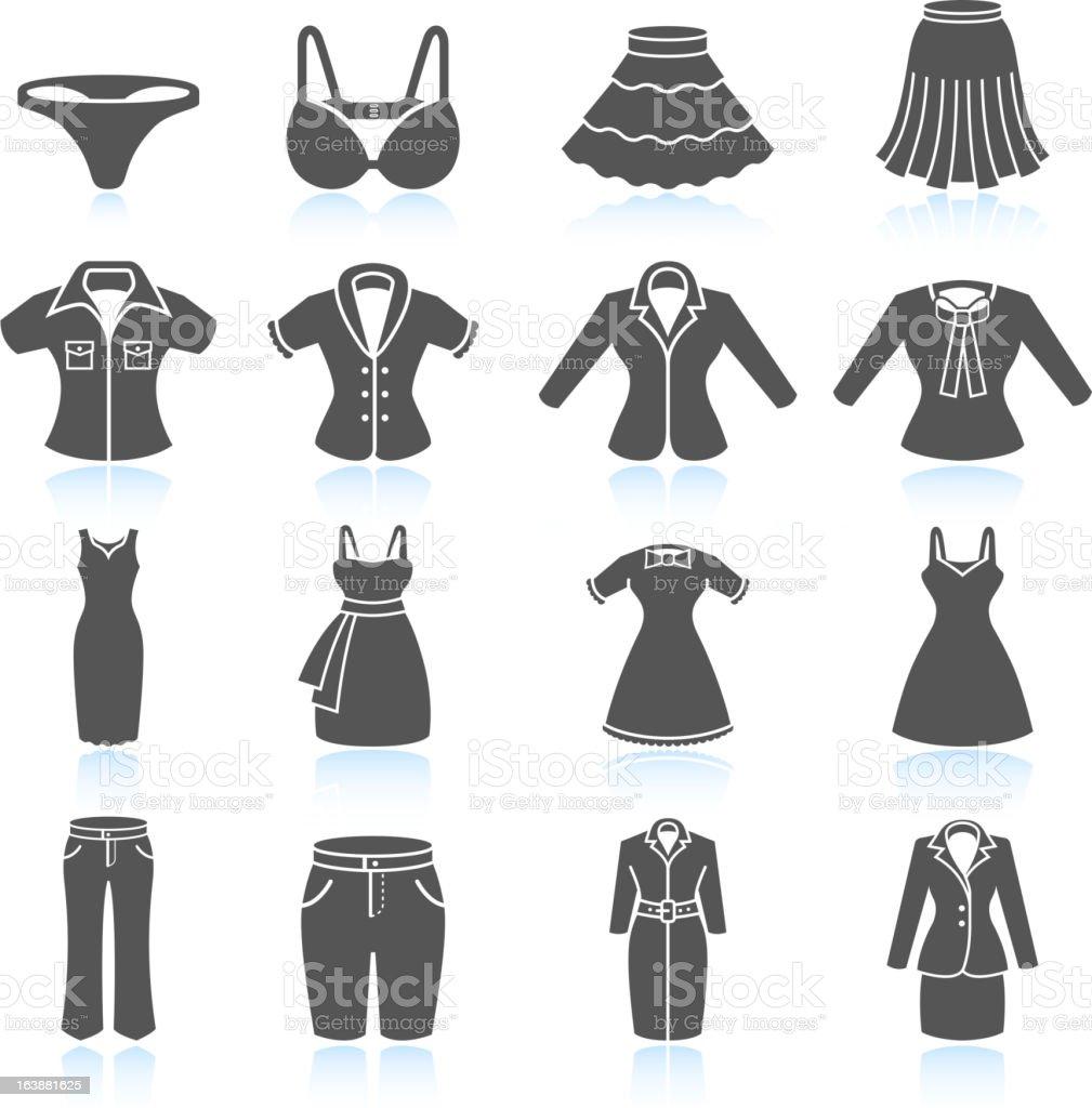 Damen Kleidung und Outfits Schwarz & weiß Vektor icon-set – Vektorgrafik
