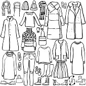 Winter  fashion. Hand drawn women's clothing and shoes. Vector sketch  illustration.