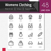 Womens clothing elements vector icons set on white background.  Premium quality  outline symbol collection. Stroke vector logo concept, web graphics.