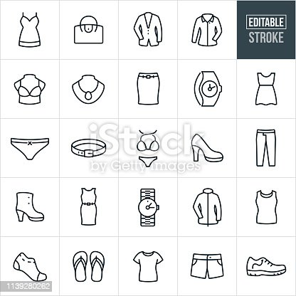 A set of women's clothing icons that include editable strokes or outlines using the EPS vector file. The icons include a dress, skirt, purse, suit jacket, dress shirt, bra, jewelry, watch, underwear, belt, bikini, high heel, shoe, pants, book, jacket, socks, flip flops and short to name just a few. The cloths consist of both casual and formal wear.