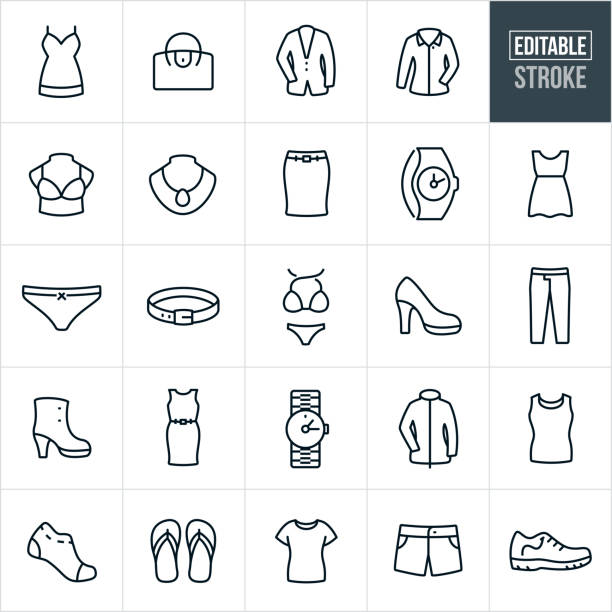 Women's Clothing Thin Line Icons - Editable Stroke A set of women's clothing icons that include editable strokes or outlines using the EPS vector file. The icons include a dress, skirt, purse, suit jacket, dress shirt, bra, jewelry, watch, underwear, belt, bikini, high heel, shoe, pants, book, jacket, socks, flip flops and short to name just a few. The cloths consist of both casual and formal wear. clothing stock illustrations