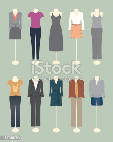 A selection of women's clothing – from formal to casual. All on separate layers and grouped for easy changes to colors. Includes a CS3 file.
