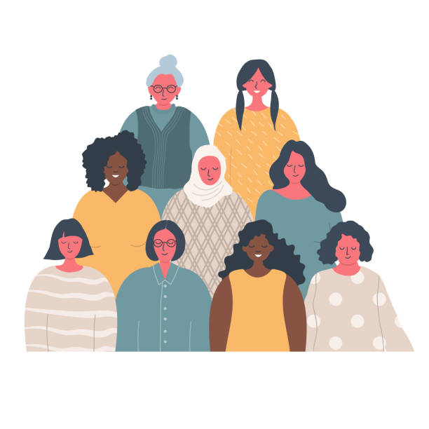Women's community. Female solidarity. International Women's Day concept vector art illustration