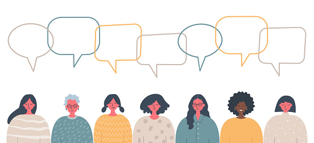 Women's community. Social concept. Communication. People icons with speech bubbles