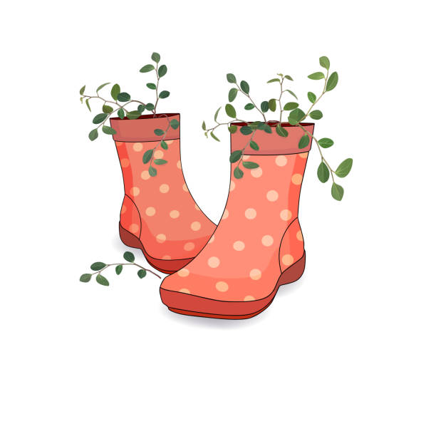 women's country red boots with a bouquet of branches of pot plants. vector - square foot garden stock illustrations, clip art, cartoons, & icons