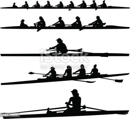 Vector illustration of womens crew rowers and boats.