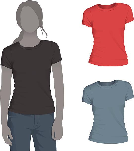 stockillustraties, clipart, cartoons en iconen met women's crewneck t-shirt mockup template - t shirt