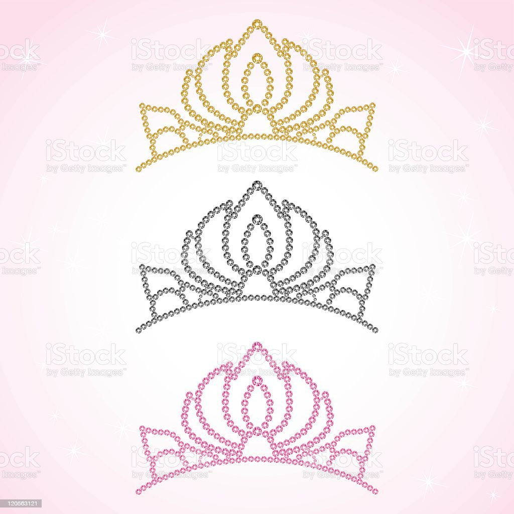 Women's crown. Pink Princess, Gold queen tiara. Vector illustration. royalty-free stock vector art