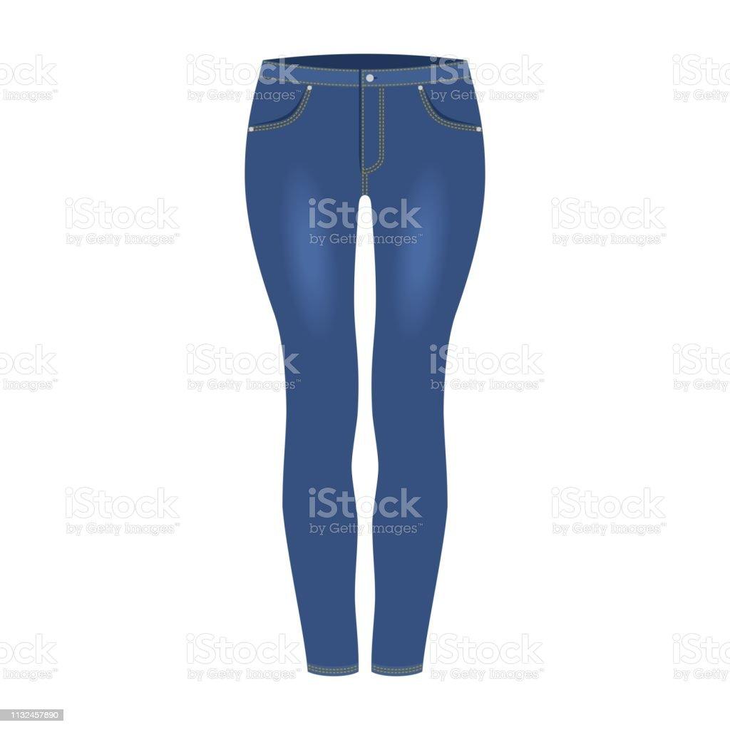 b112baeea Pantalones vaqueros de mezclilla azul marino de mujer aislados sobre fondo  blanco. Ropa casual de