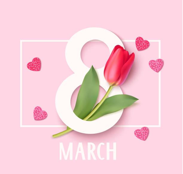 illustrations, cliparts, dessins animés et icônes de womens jour 8 mars modèle de conception. décoratif numéro huit avec des tulipes eed. illustration vectorielle - mars