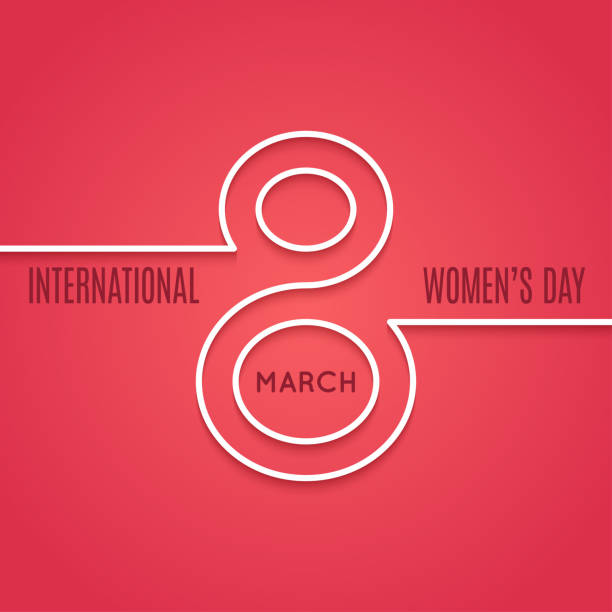 womens day 8 march line concept on red background womens day 8 march line concept on red background 10 eps number 8 stock illustrations