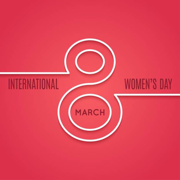 illustrations, cliparts, dessins animés et icônes de concept de ligne mars womens jour 8 sur fond rouge - mars