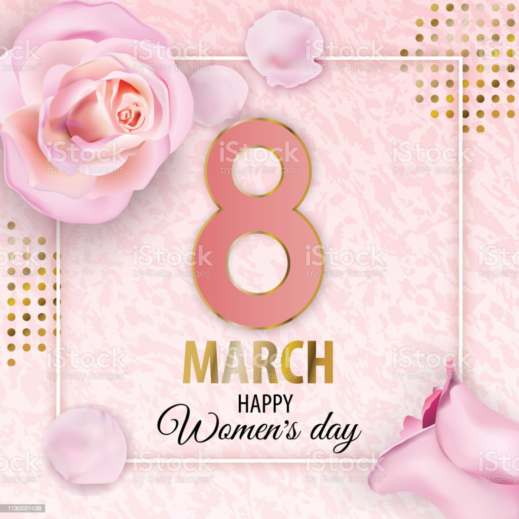 Womens Day 8 March Pink Gold Vector Marble Background With Pink Roses And Petals For Wedding Cosmetic Parfume Shops Stock Illustration Download Image Now Istock
