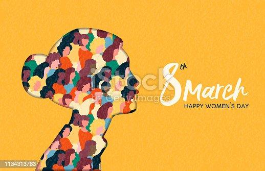 Womens Day 8th march  woman head paper cut card