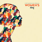 Happy Womens Day illustration. Paper cut girl silhouette cutout with women group inside, female crowd for equal rights march or peaceful protest concept.