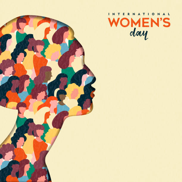 illustrazioni stock, clip art, cartoni animati e icone di tendenza di womens day 8th march  woman head paper cut card - donna