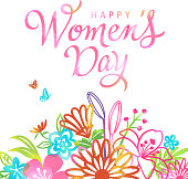 Colorful flowers blossoming at the Women's Day on 8th March