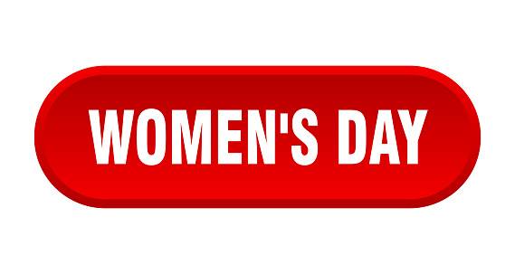 women's day button. rounded sign on white background