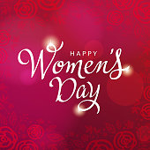Celebrate the International Women's Day on 8th March with calligraphy and roses on the red background
