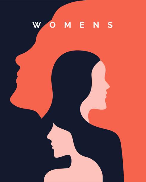 婦女節運動海報背景設計與兩個長髮女孩與臉剪影向量插圖。 - 女人 幅插畫檔、美工圖案、卡通及圖標