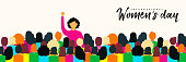 Womens Day 8th March web banner illustration for women rights power concept. Diverse woman group at peaceful protest.