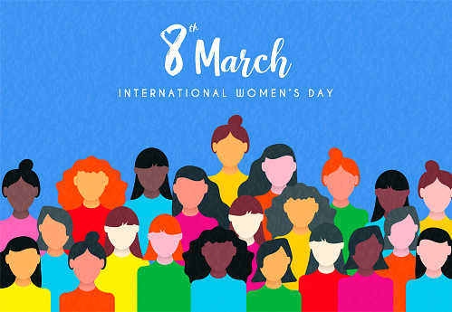 Womens Day card of diverse woman social group