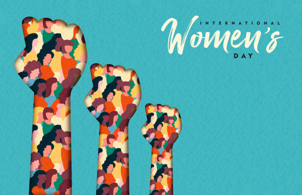 Women's Day card of women hands together Happy Womens Day illustration. Paper cut woman hands with women group inside, female crowd for equal rights march or girl power concept. confidence stock illustrations