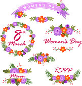 Set of Women's Day elements with flowers frame and banner
