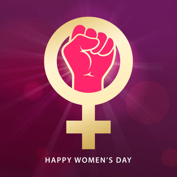 Women's Day Feminism The International Women's Day is a national day to fight for gender equality by the feminist movement party conference stock illustrations