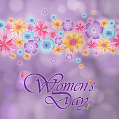 Celebrate the International Women's Day on 8th March with colorful flowers bar on the purple background