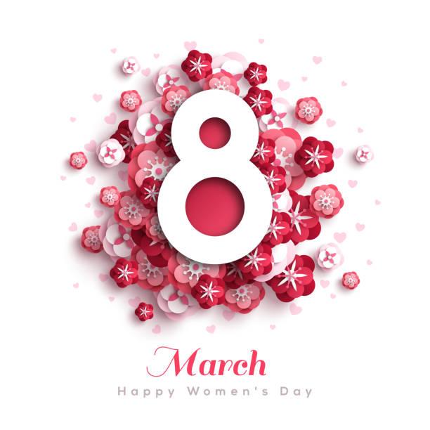 illustrations, cliparts, dessins animés et icônes de fond de fleurs pour le jour de la femme - mars