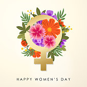 Celebrate the International Women's Day with gold colored female gender symbol and colorful floral bouquet