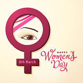 Celebrate the International Women's Day with woman's eye inside the red colored female gender symbol
