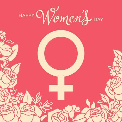 Women's Day Gender Symbol & Roses