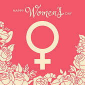 Celebrate the International Women's Day on 8th March with female gender symbol on roses background