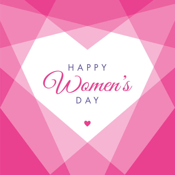 women's day geometric heart - illustration - international womens day stock illustrations, clip art, cartoons, & icons
