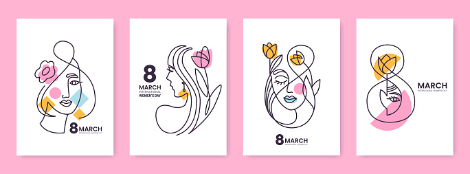 Women's Day greeting card collection in line art style. Linear silhouettes of beautiful women with flowers and decorative elements isolated on white. Ideal for postcard, promo, beauty salon.