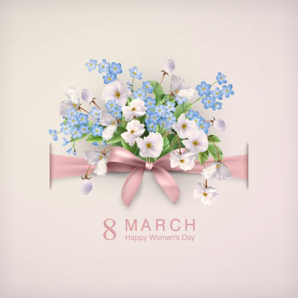 女性の日グリーティング カード - 花束点のイラスト素材/クリップアート素材/マンガ素材/アイコン素材