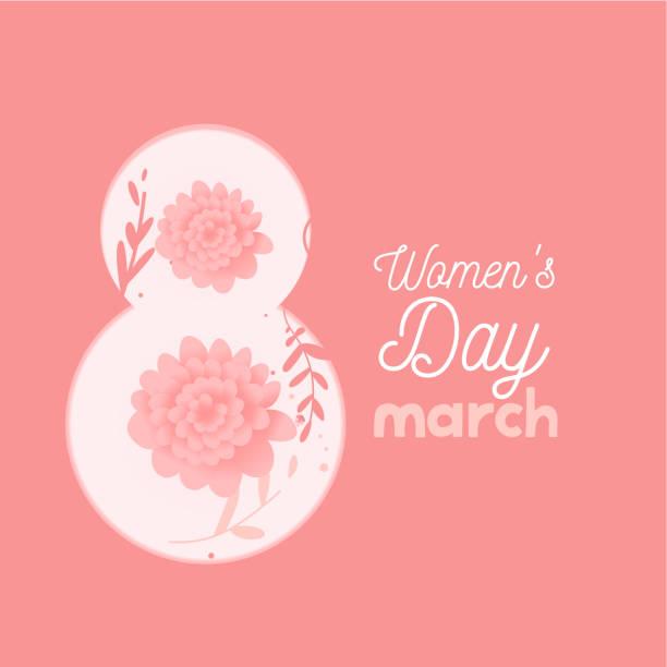 illustrazioni stock, clip art, cartoni animati e icone di tendenza di womens day. lettering march 8 flat flowers in pink color. doodle design. flat hipster graphic of poster, banner. vector - huế