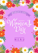 The menu for the International Women's Day on 8th March with colorful flowers frame on the background