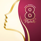 Celebrate International Women's Day with number 8 March on the woman's head background