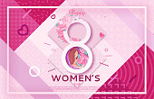 Womens day origami paper art greeting card, 8 march banner in trendy 90s- 80s style with geometric shapes, frame, patterns, woman silhouette, colorful carved vector illustration, background