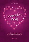 Women's Day Party invitation with Lights Heart. - Illustration