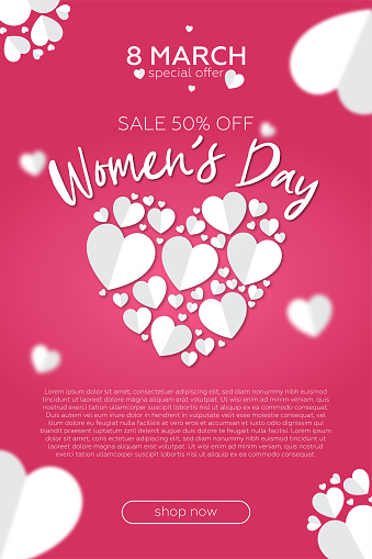 Women's day sale poster or banner with sweet gift, sweet heart and lovely items on pink .Promotion and shopping template or for women's day.