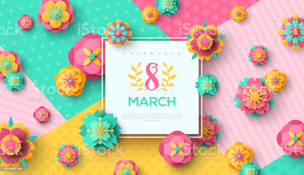 Women's Day square frame and flowers vector art illustration